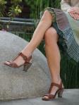 Block heeled shoe with short skirt