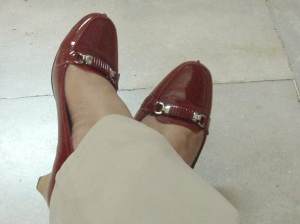 Red Shoes with Beige