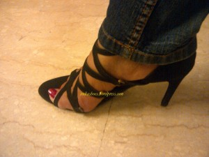 Strappy Black High heeled Sandal